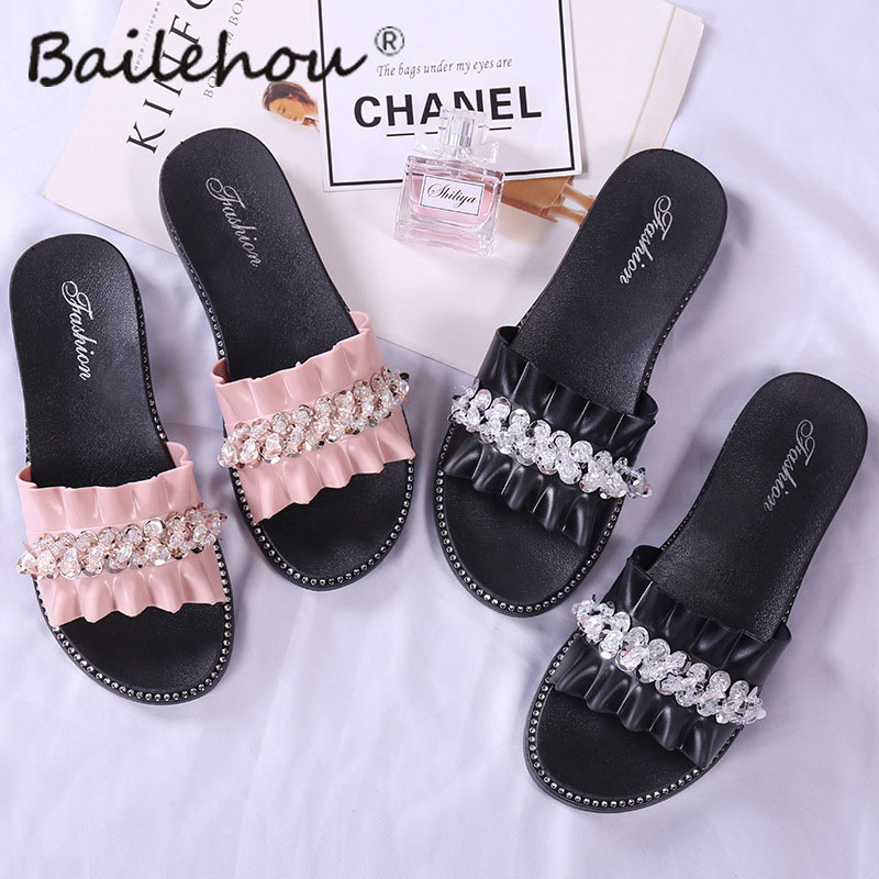 8247254b5 Women Slippers Shoes Home Female Ladies Shoe Flip Flops Women Sandals  Slides Platform Crystal Bordered Slippers Woman Pantufa