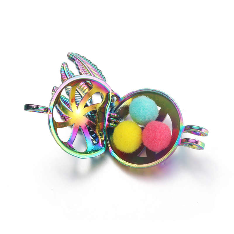 4pcs Rainbow Color Yoga lotus sign Dream Catcher Pearl Cage Necklace Jewelry Bead cage Locket Pendant Perfume Diffuser Jewelry