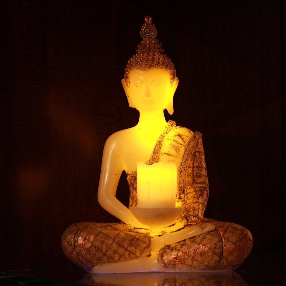 1 pièce LED bougie vraie cire Votive pilier bougies quotidien vacances décoration paillettes argent bouddha sans flamme LED cire LED bougie