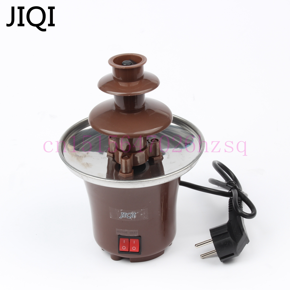 JIQI 3 Layers Mini Chocolate Fountains Fondue Waterfall Maker Machine Home Event Exhibition Wedding Birthday Party EU/US/UK Plug fast shipping food machine 6 layers chocolate fountains commercial chocolate waterfall machine with full stainless steel