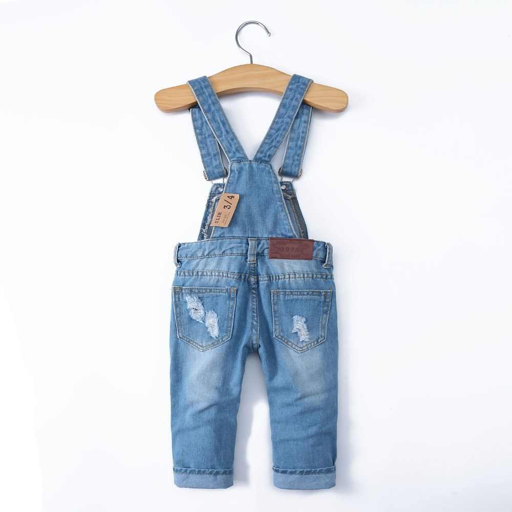2-8T Bahar Çocuklar Tulum İnce Pantolon Erkek Kız Askı Önlük Kot Pantolon Çocuk Kot Tulum Giysileri Çocuk giyim 2051