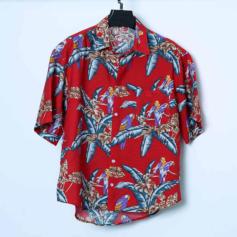 男性のビーチハワイ半袖シャツ熱帯男性の夏の半袖シャツメンズブランド服カジュアル緩い綿シャツ