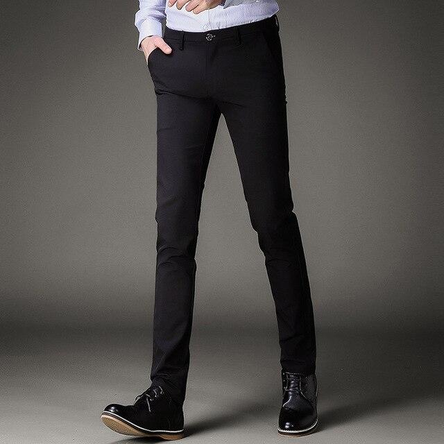 a652618bf1b Summer Mens Black Dress Pants Formal Pants Slim Fit Wedding Men Black Suit  Pants Business Casual Mens Trousers perfume masculino