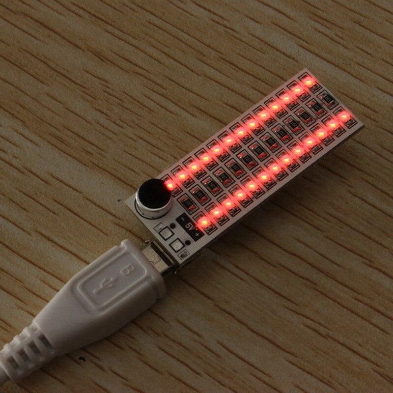 Mising 1 шт. 2x13 светодиодный s модули USB мини музыкальный спектр светодиодный голосовой контроль Чувствительность Регулируемая - Цвет: Красный