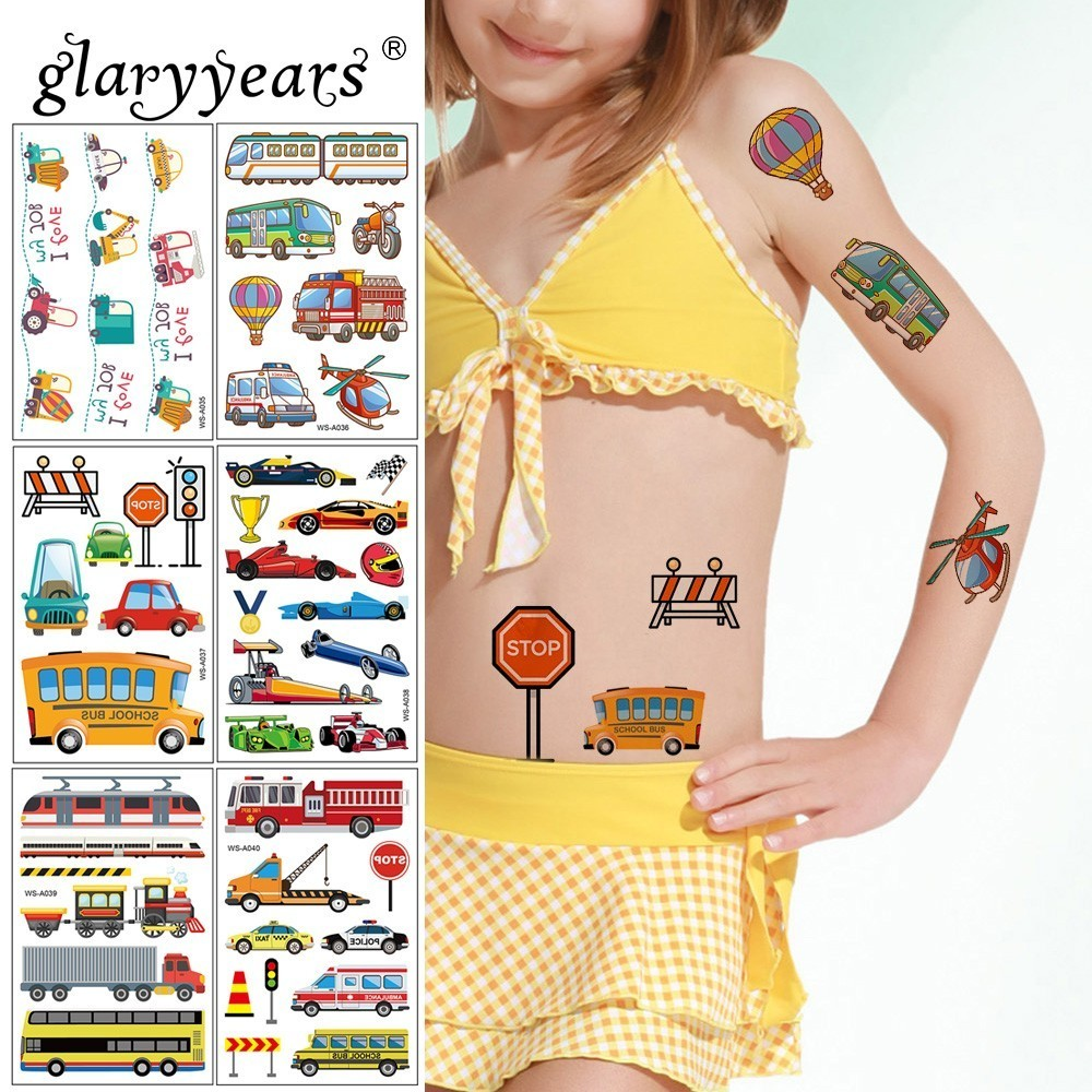 Glaryyears 10 Designs Temporary Tattoo Sticker Colorful Fake Tatoo Car Flash Tatto Waterproof Small Body Art Children 1 Sheet