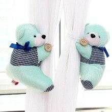 2pcs Cute Teddy Bear Curtains Buckle Plush Toys