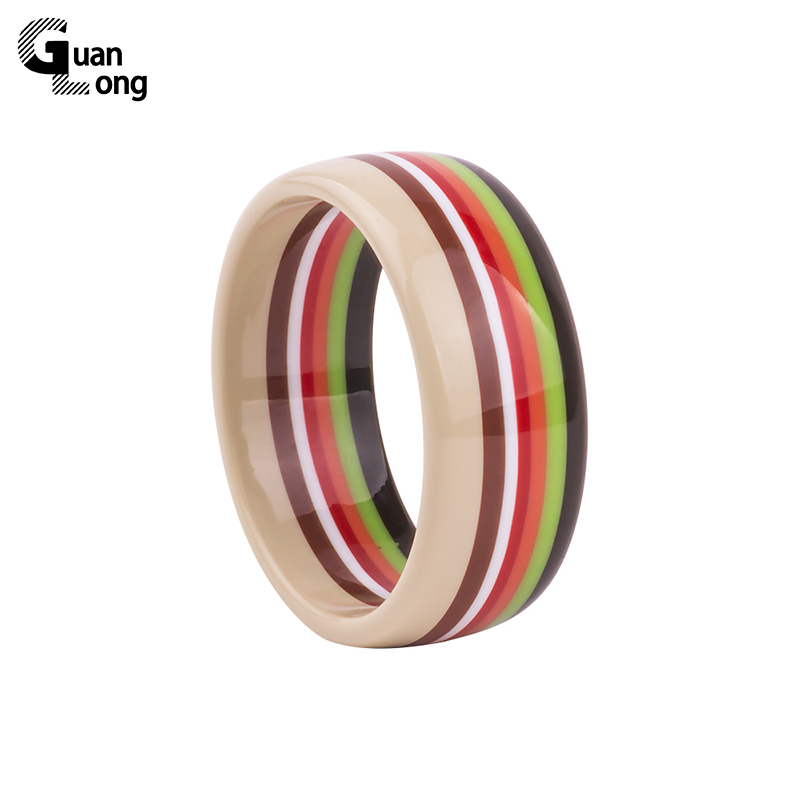 Hot Selling Søt Mote Fargeløs Rund Hjerte Bangle Armbånd Brasil Indian Style Multicolor Girl Bangles 5 Colors