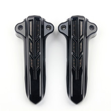 Motorcycle Black Chrome Front Lower Fork Leg Covers W/ Red LED Case for Harley Touring Road King Street Glide FLHT 2014-Up