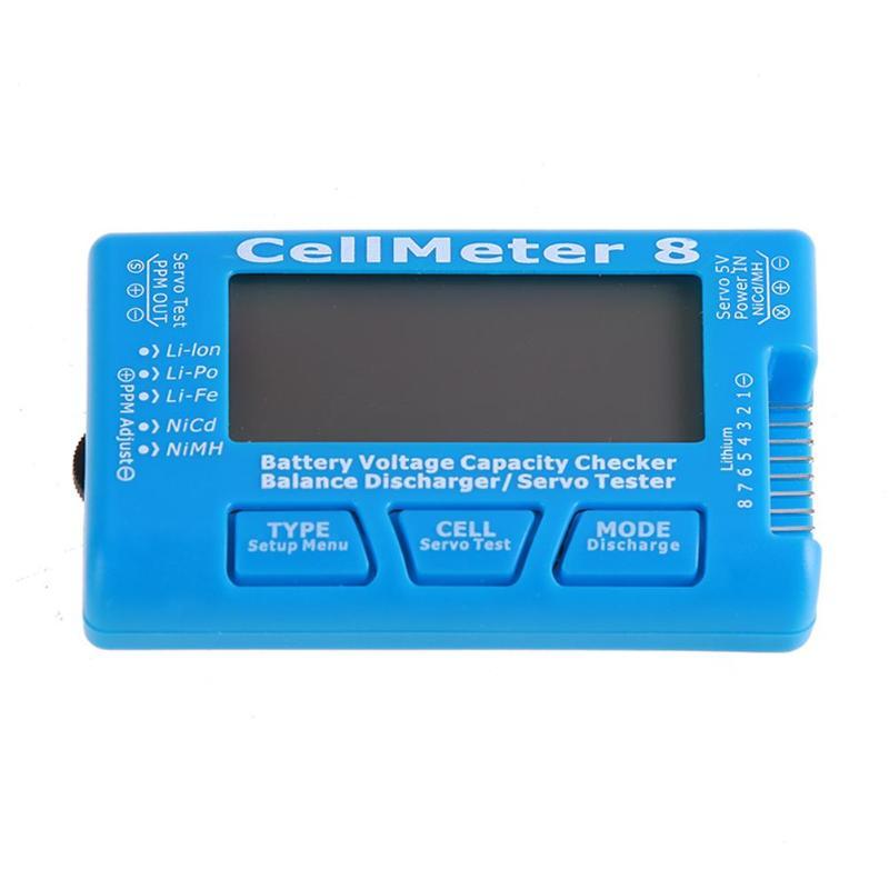 Capacità della batteria Checker Tester Servo RC CellMeter 8 con Retroilluminazione A LED per Li-Po/Li-lon/ li-Fe (2-8 s), niCd/NiMH (4-8 s) batteria