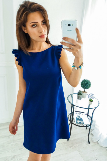 2018 New Summer Casual Dress Women Loose A-line O-neck Ruffles Folding Sleeve Solid Party Dresses Female Vestidos Plus size