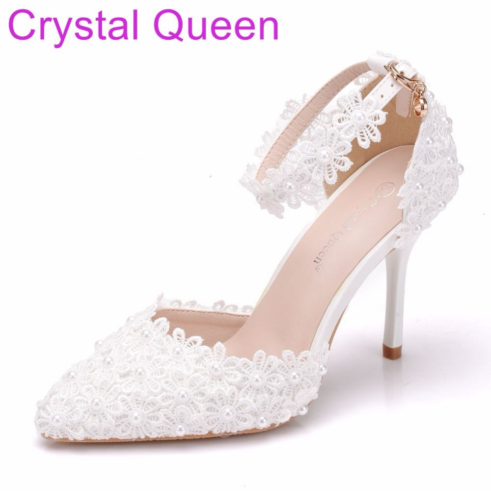 Crystal Queen Women Shoes Thin Heels Pointed Toe Shoes White lace Wedding  Bridals Shoes Plus Size d16ea7367f2f