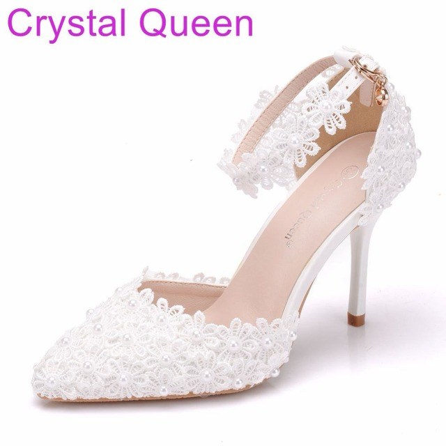 Crystal Queen Women Shoes Thin Heels Pointed Toe Shoes White lace Wedding  Bridals Shoes Plus Size 42 e7dc1377ecab