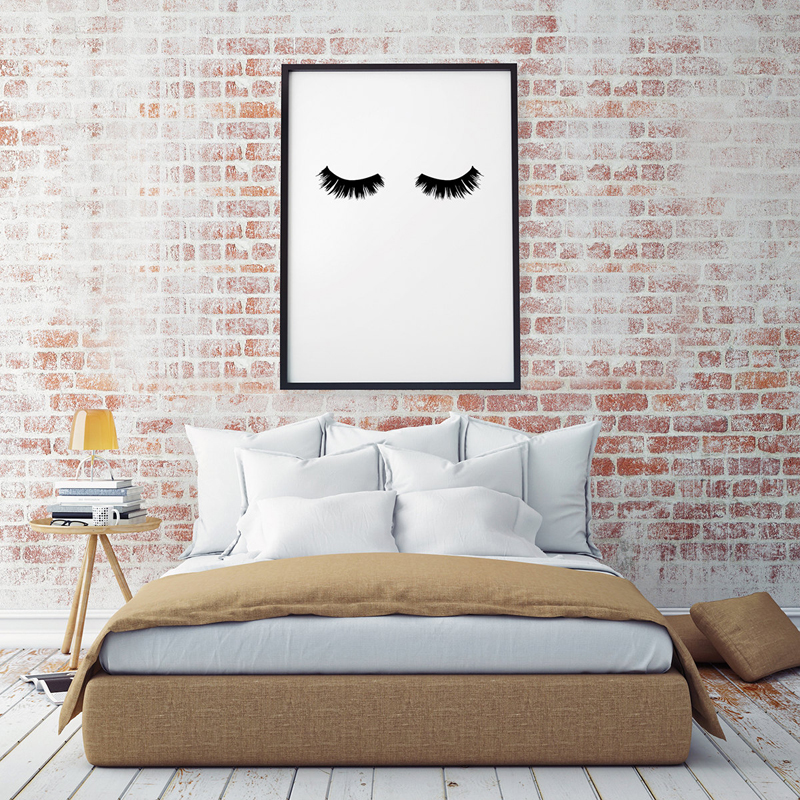 Modern Lashes Beauty Canvas Paintings Black And White Poster Nordic Scandinavian Wall Art