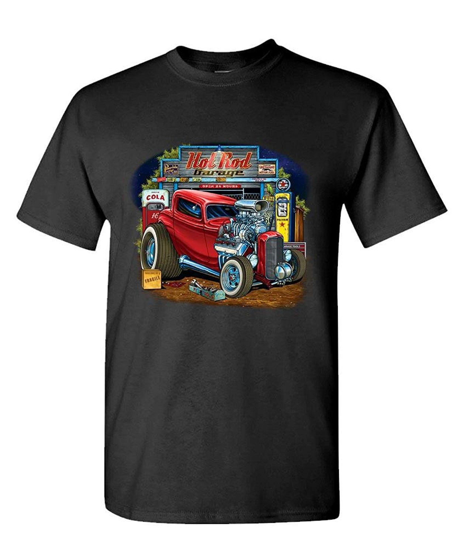 Возьмите пользовательские Рубашки для мальчиков интернет-Graphic Crew Средства ухода за кожей Шеи Hot Rod гараж расы низкие Горячие Muscle Car короткий ...