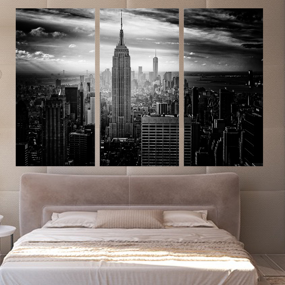 New York City Night Cityscape Silk Cloth Poster Painting Art Picture ...