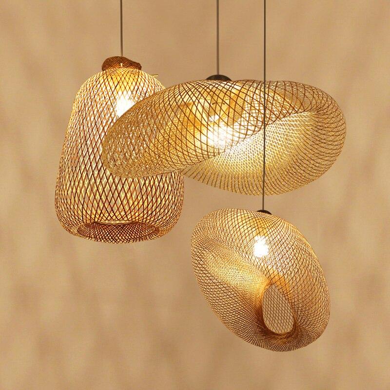 BDBQBL originalité vis bambou pendentif lumières AC90 260V E27 américain pendentif lampe pays chambre café Bar LED Hanglamp - 3