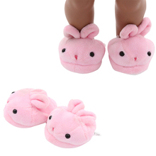 6.8cm Rabbit plush slippers Fits 18 inch Doll 43CM born Dolls Reborn Baby Doll shoes for American doll boots toy