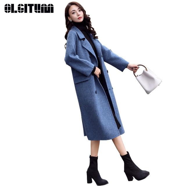 Invierno 2018 Mujer Coreano Largo Nuevo Slim Lana De Abrigo UwzwSv