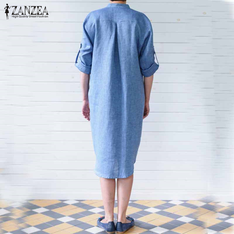 3118fbeaff Vestidos 2018 Autumn ZANZEA Women Retro Knee length Dress Female Casual  Loose Stand Collar Long Sleeve Solid Pockets Dresses-in Dresses from Women s  ...