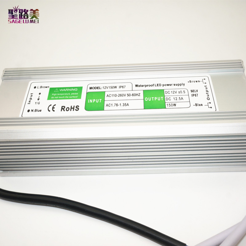 Meilleur prix 1 pièces 12 V 150 W étanche contrôle électronique à LEDs transformateur d'alimentation 110 V-260 V 12 v 12.5a IP67 puissance extérieure