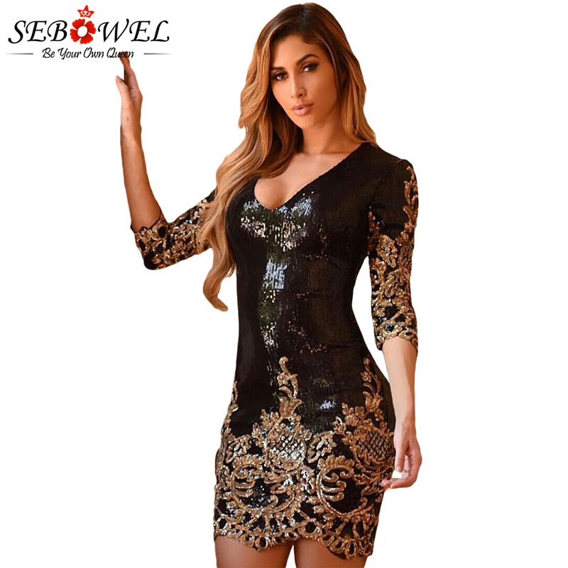 Aliexpress.com : Buy SEBOWEL Women Black Gold Sequin