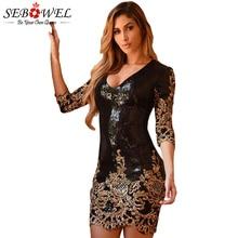SEBOWEL Women Black Gold Sequin Bodycon Party Dress Sexy Glitter Club Female Mini Pencil Vestido De Festa Curto