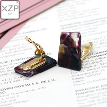 XZP Retro Simple Acrylic Geometric Round Earrings Korean Irregular Acetate Clip on Earrings Without Piercing for Women Jewelry(China)