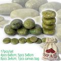 new 17pcs/set green jade body massage hot stone SPA with canvas CE and ROHS 5pcs(5x8)+4pcs(6x8)+8