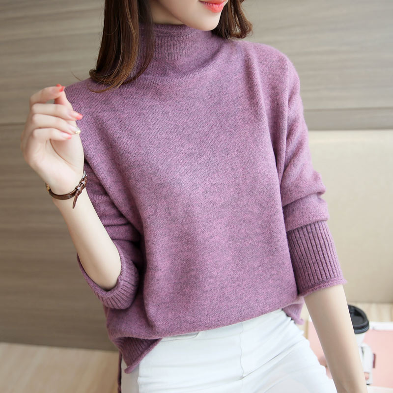 Women Sweater 2018 Standard Length Pullovers Regular Solid Full Sleeve Autumn Winter Turtleneck Pullover Plus Size 4 Colors