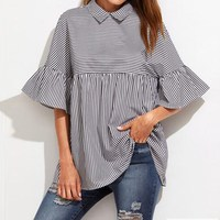 2017 Womens Turn Down Collar Stripe Flouncing Flare Bell Lapel Half Sleeve Casual Summer Loose T