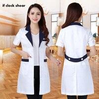 Женская медицинская Униформа с короткими рукавами, одежда для больниц, доктора, Униформа, салон красоты, v-образный вырез, белые лабораторны...
