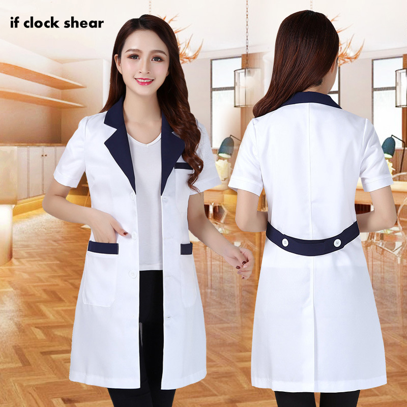 Lady Short Sleeve Medical Clothes Hospital Doctor's Uniforms Beauty Salon V-neck White Lab Coats Summer Nursing Uniform Scrubs