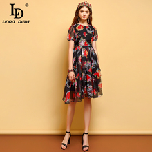 LD LINDA DELLA New Fashion Summer Vintage Dress Womens Short Sleeve Floral Printed Mesh Overlay Elegant Ladies Vacation Dresses