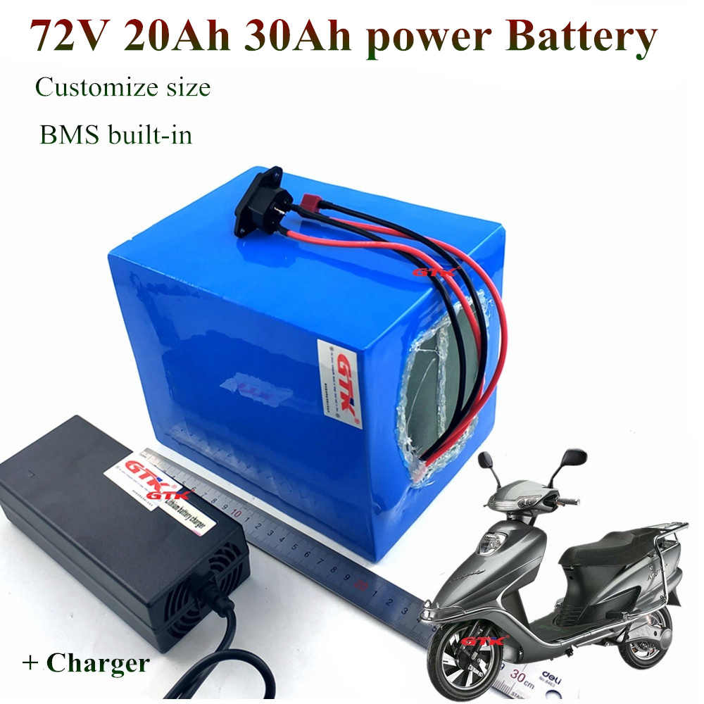GTK Li-Ion Ebike Battery Pack 72V 20Ah Lithium Battery Pack 30Ah 15Ah lithium 2000w 3000w motor scooter bicycle + 84v 3A charger