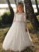 2017 Vintage Custom Made Tutu Flower Girl Dresses Long Sleeves Lace Beading For Weddings Vestido Largo