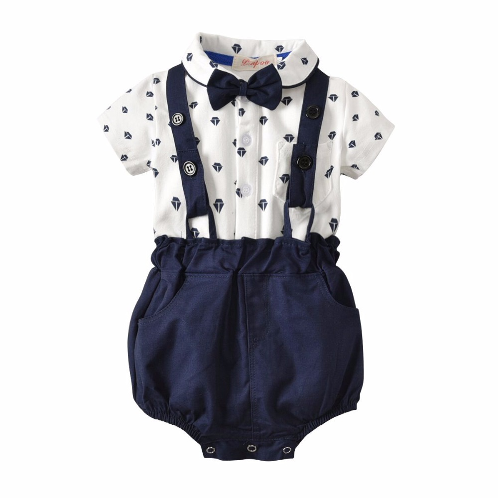 Party Suit Bow Tie Cartoon Romper Suspenders Shorts Overalls 2Piece Infant Baby Boys Gentleman Outfit Set