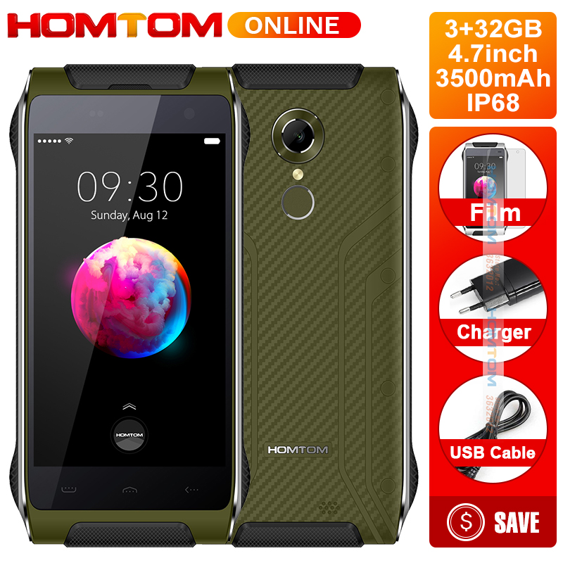 HOMTOM Smartphone HT20 PRO IP68 Étanche MTK6753 3G RAM 32G ROM Octa base Téléphone 8.0MP 4.7 Pouce 4G Retour D'empreintes Digitales ID FDD-LTE