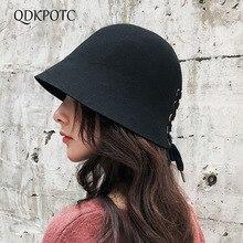 QDKPOTC 2018 New Fashion Fedoras Womens Wide Brim Dome Bandage Butterfly 100% Wool Cap Casual Hat Fisherman Hats