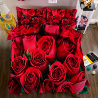 New 4pcs 3D Bedding Set Bedclothes Red Rose in Full Bloom Queen/King Size Duvet Cover+Bed Sheet+2 Pillowcases