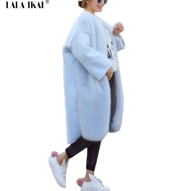 Winter Herbst Faux Pelz Wolle Mantel Damen Licht Blau Beige Batwing