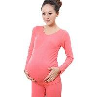 Spring Autumn Pregnant Clothing Set Women Maternity Leggings Shirt Pink Soft Elastic Thermal Warm Underwear Long Johns