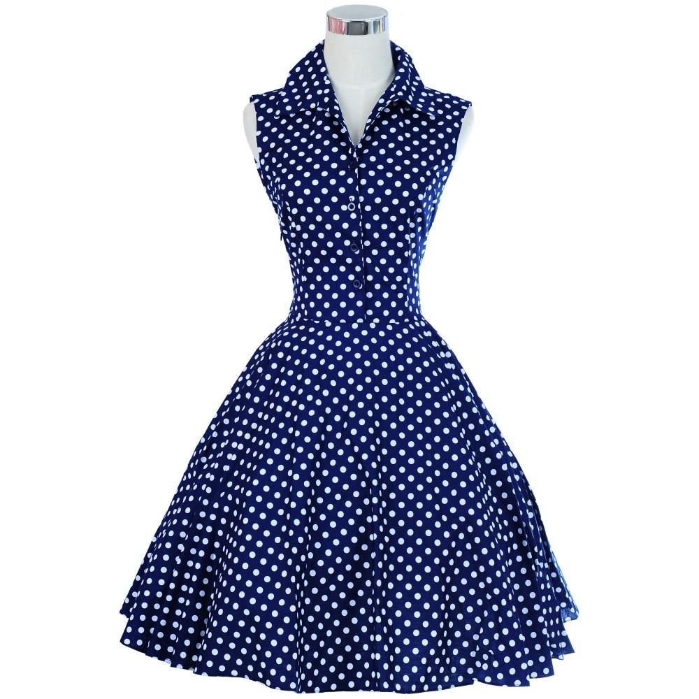 Qadın geyimləri Audrey Hepburn Stil Vintage 50-ci illərin 60-cı illərində Retro Don SwingRockabilly Don Printli Güllü Polka Dot Toplu Don2017