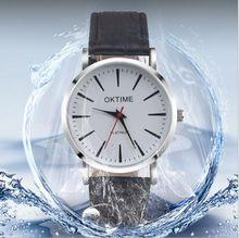 OKTIME Extremely Skinny Easy Vogue Informal Japan Quartz Males Watches Enterprise Gentalman pattern leather-based Strap Wristwatch Basic Present