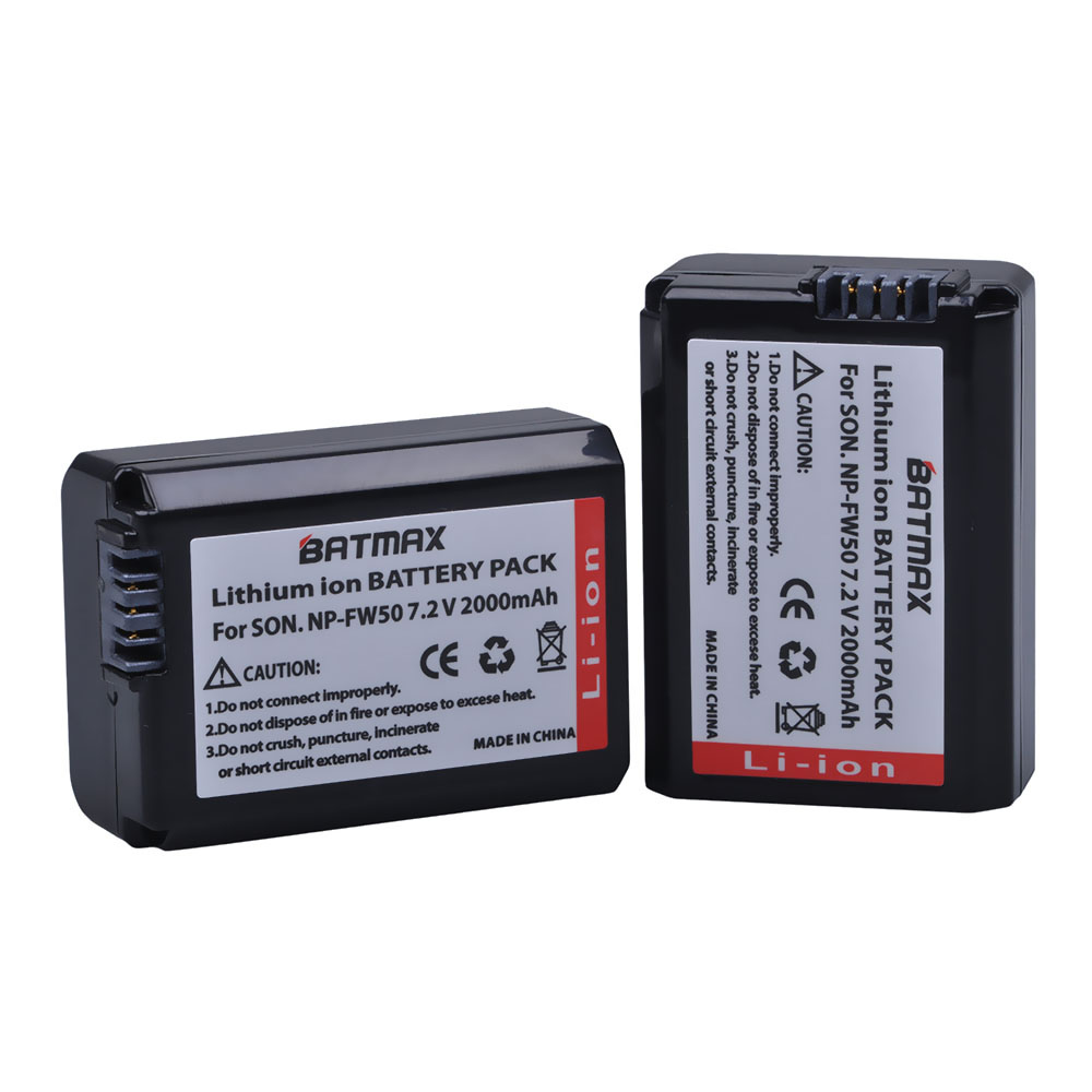 2 Pack 2000 mAh NP-FW50 NPFW50 NP FW50 Batterie pour Sony Alpha a33, a35, a37, a55, SLT-A33, SLT-A35, SLT-A37, SLT-A37K, SLT-A37M, SLT-A55