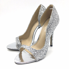 New Women open peep toe paillette bling thin super high heels mujer ladies lady sexy dress prom wedding party shoes for woman