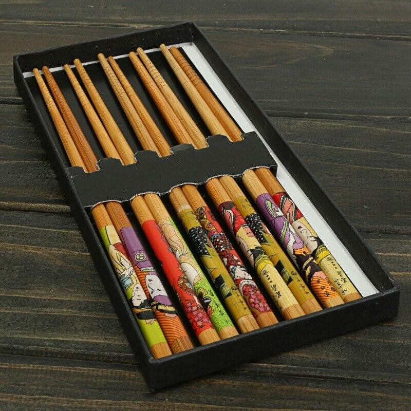 5Pairs Japán Bambusz Sushi pálcika Evőeszközök Kínai természetes bambusz pálcika Eating Tools baguettes japonaises