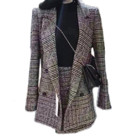 Plaid Office Lady Jacket Skirt Two Sets Elegant Formal Warm Coat Jacket Top With Skirt Suit Winter Autumn Women's Suit GRNSHTS