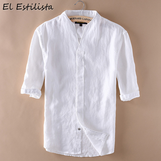 aae750d05e Mens Summer Clothing Cool Half Sleeve Cotton Linen Shirts V-Neck Unique  Covered Button Vintage Style Breathable Hemp Dress Shirt