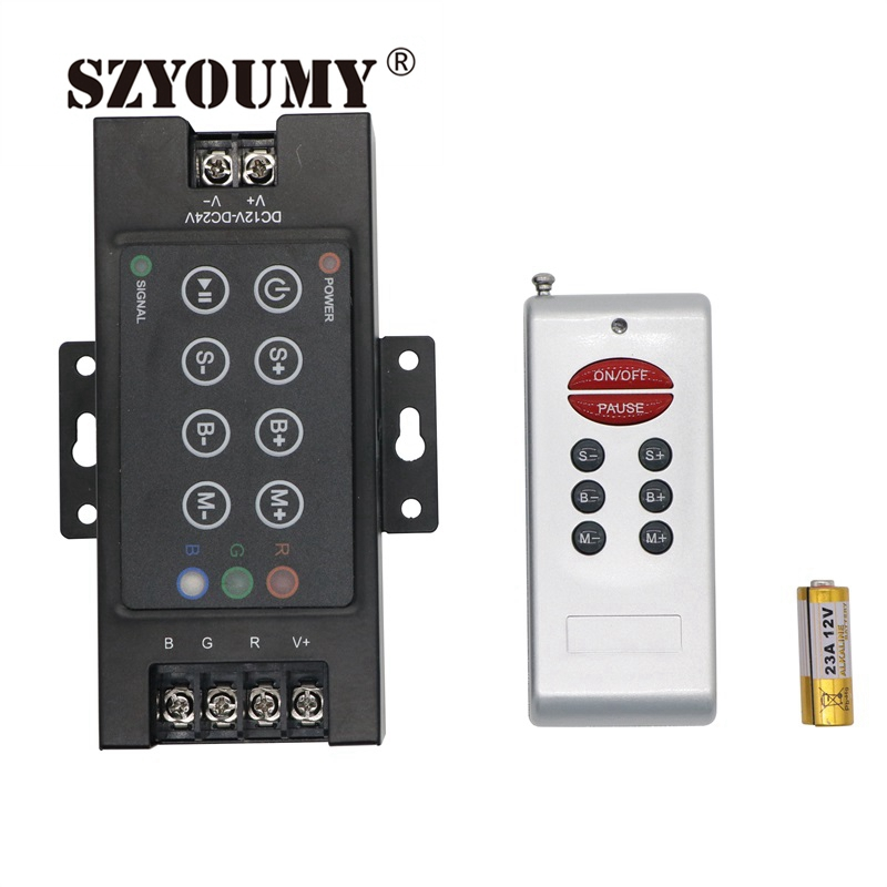 SZYOUMY Wireless remote rgb 8 KEYS new iron shell 360W DC12V <font><b>30A</b></font> RF Controller control For RGB 5050 3528 LED Strips Light image