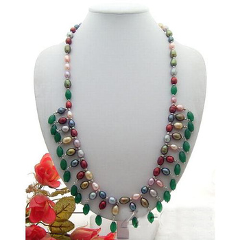 Perfect Handmade Luck Pearl Jewellery,Multicolor Natural Green Ja-de,Genuine Freshwater Pearl Necklace